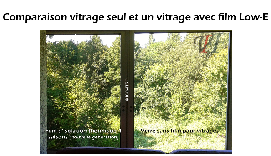 Comparaison entre un vitrage nu et un vitrage équipé d'un film d'isolation thermique 4 saisons