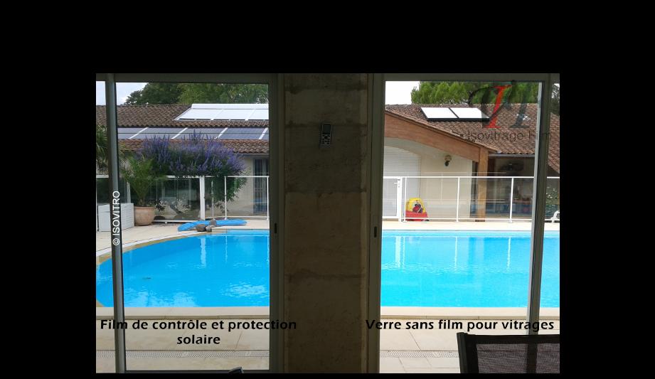 Comparaison entre un vitrage équipé d'un film de protection et de contrôle solaire et un vitrage nu